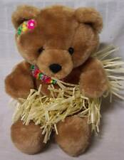 "Vintage Russ Hula Get-A-Way Bear In Grass Skirt 9"" Plush Stuffed Animal Toy"