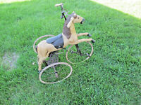 VINTAGE ANTIQUE RARE 1800s CARVED WOOD HORSE VELOCIPEDE TRICYCLE FOR CHILD