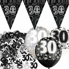 Black Silver Glitz 30th Birthday Flag Banner Party Decoration Pack Kit Set