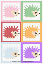 Crochet Patterns - WOODLAND BABY HEDGEHOGS Graph Afghan Pattern SCRAP YARN