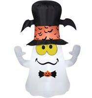 3.5' Airblown Self-Inflatable Lighted Halloween Ghost w/ Bat Top Hat Yard Decor