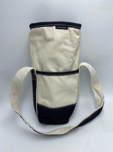 NEW Lands End Insulated Single Bottle Wine Tote Bag Natural Navy Canvas