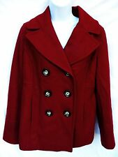 MICHAEL KORS Womens Red Wool Signature Button Double Breasted Jacket Coat M