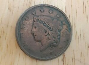 Two US Cents: 1834 1/2C Half Cent Liberty and 1837 1C One Cent LibertyCirculated