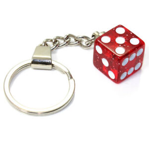 3D Clear Red Glitter Dice Key Chain Ring Fob - for home, car, truck, bike keys