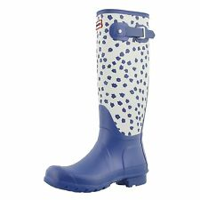 Hunter Boots Women's Original Tall Festival Floral Rain Boot Blue 7 M US