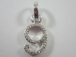 LINKS OF LONDON 925 STERLING SILVER NUMBER 9 w/ PAVE DIAMONDS CHARM/PENDANT