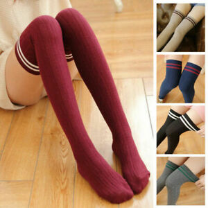 Ladies Stripe Knee High Long Socks Girls Thigh High Sotckings Slim Cotton Socks
