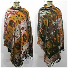 Reversible Indian Wool Wrap Shawl Scarf Stole Poncho Pashmina Cover Up a129