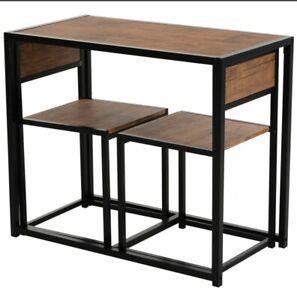 Space Saving Table Stool Dining Set Bar Modern Style Furniture Metal Frame 3 Pcs