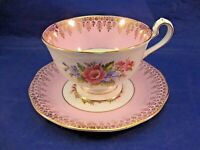 QUEEN ANNE FINE BONE CHINA TEA CUP AND SAUCER - PINK & WHITE W FLORAL CENTERS