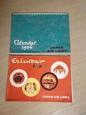 "2 Vintage 1956-1957 Japan Air Lines Art Calendars.Rare! Size 16 3/4"" x 12"""