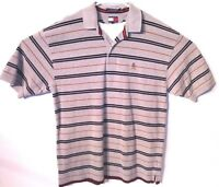 Tommy Hilfiger Polo Shirt Striped Short Sleeve Size XL Gray/Blue/Red