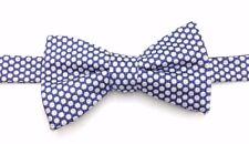 $100 COUNTESS MARA Mens WHITE BLUE POLKA DOT BOW TIE CLASSIC ADJUSTABLE BOWTIE