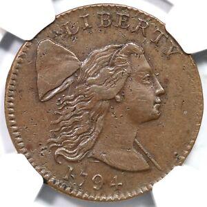 1794 S-29 R-2+ NGC AU Details Liberty Cap Large Cent Coin 1c
