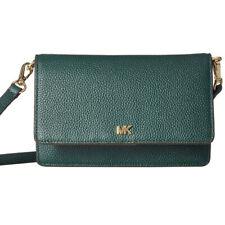 Michael Kors Mott Dark Atlantic Pebbled Leather Phone Wallet Crossbody Green