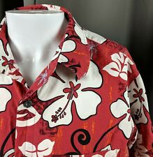 L Aloha Hawaiian Shirt Batik Print HIbiscus Monsterra Leaves Ocean Current