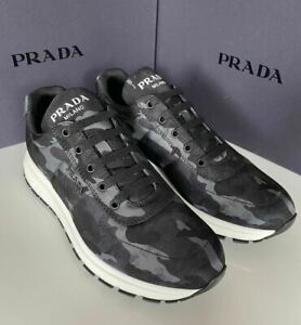 NIB PRADA Men's Blue Camouflage Sneakers 10 US (Prada 9) 4E3476
