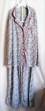 WOMENS L BLUE WITH RED BIRDS BUTTON PAJAMA SLEEP SET ELASTIC EUC ~ WHITE ORCHID