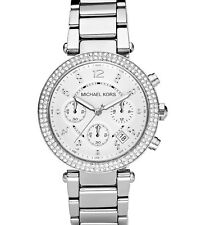 Michael Kors MK5353 Parker Silver Chronograph Women's Glitz Stainless Watch 39MM
