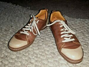 Ecco Shoes Sneakers Runners Trainers Flats Size 40 - 9 Brown Leather Lace Ups