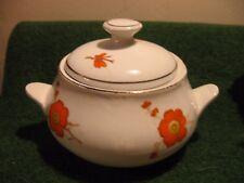 DINETTE PORCELAINE  blanche motifs orange