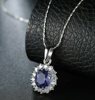 2.00 CT Created Oval Cut Sapphire Necklace in 18K White Gold ITALY 18""