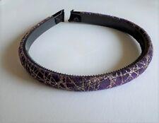 Serre-tête fin 1,3cm tissu fin velours violet motif déco paillettes or ST0135A