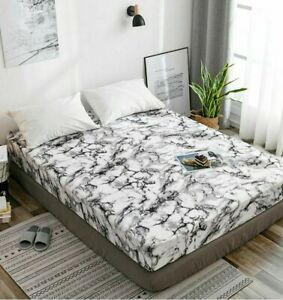 Printed Marble Bed Sheet Fitted Mattress Cover Four Corners Elast Band Polyester