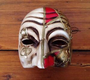 Vintage Italian Mod Dep Venetian Mardi Gras Carnival Ceramic Mask Wall Hanging