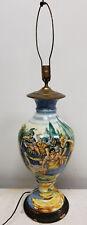 Antique Large Italian Majolica Maiolica Faience Vase Lamp Religious Scene