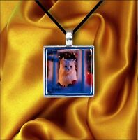 CAT AWAITING FOR SANTA SQUARE CABOCHON GLASS PENDANT NECKLACE