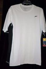 Speedo Men's L Short Sleeve Rash Guard Swim UV Shirt White Black Longview Swim T