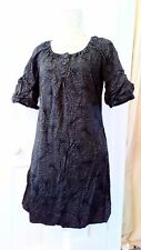 ESPRIT SIZE 10 COTTON DRESS GREY WITH BLACK PRINT IN VGC