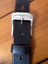 """Vintage Style Levi Strauss Black Genuine Leather Belt 44/110 47"""" to last hole"""