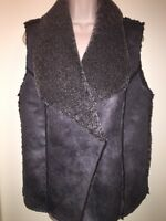 """DESIGN 365 Women's Faux-Shearling Vest """"ELEPHANT GREY"""" Size M NEW with Tags Fall"""