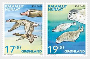 GREENLAND  2021  EUROPA CEPT BIRDS Endangered Wildlife - SET MNH
