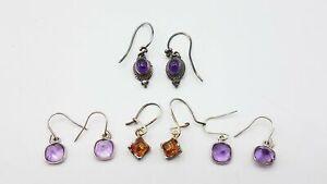 925 Silver 4Pair Amber/Amethyst Stone Earrings 7.15g MRJ354