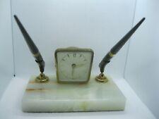 VINTAGE 1960 MARBLE DESK SET WITH 2 PENS & WORKING GERMAN WIND-UP CLOCK