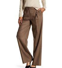 LAFAYETTE 148 Womens Brown RIVINGTON Wide Leg Single Pleat Wool Pant Size 14 NWT