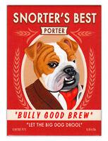 Retro Dogs Refrigerator Magnets - Bulldog Porter (Bull Dog) - Advertising Art