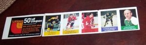 Loblaws / Save Easy NHL action players 1974-75 5 unused stamps Phil Esposito +4