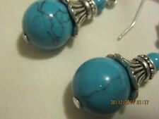 Earrings -  round blue howlite beads with tibetan silver findings 2.5cm drop