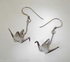CUSTOM Hawaiian 925 Silver Sadako Peace Crane Open Wings Origami Hook Earrings