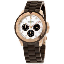 Bulova Women's 98N103 Brown Rubber Wrapped Stainless-Steel Bracelet Watch