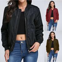 Plus Size Women Zip Up Bomber Jacket Ladies Casual Thin Baseball Coat Outwear UK
