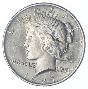 Choice AU/UNC 1924 Peace Silver Dollar - 90% Silver *908