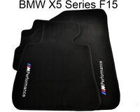 BMW X5 Series F15 Black Floor Mats With M Performance Emblem Clips LHD NEW