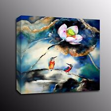 HD Canvas Prints Wall Art Lotus flower Birds Canvas Painting Poster Home Decor