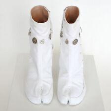 MAISON MARTIN MARGIELA split toe gypsy coin white canvas tabi boots 39.5 NEW